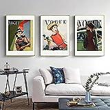 ZRRTERL Vintage Vogue Woman Poster Portada De Revista Impresiones Moda Diosa Desgaste Imágenes Moda Arte De La Pared Arte De La Lona Dormitorio Moderno Decoración 30X40Cmx3 Sin Marco