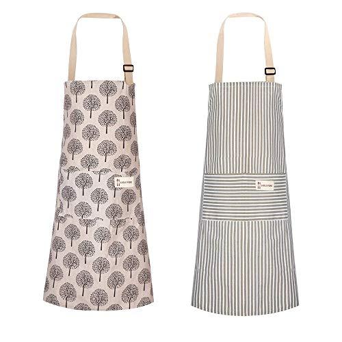 HO2NLE 2pcs Delantal Cocina Mujer Algodon 66 x 72cm Delantal de Lino Algodón Ajustable con 2 Bolsillos Forma de Rayas y Arbol para Mujer Hombre Jardinería Cocinero Niño Niña