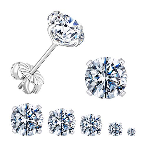 GEMSME 925 Sterling Sliver Round Cubic Zirconia Stud Earrings 4 Pongs Women Men Sparkly Jewelry Pack of 5 (white gold plated)