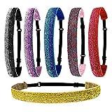 6 diademas elásticas con purpurina, antideslizantes, ajustables con forro de terciopelo para adolescentes, accesorios de pelo para mujeres, yoga y deportes