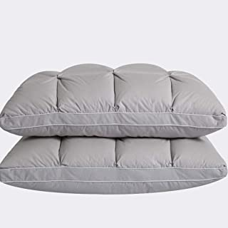 Rekaf Blanco Ganso Almohada de Plumas Pan Individual Altura Cinco Estrellas Almohada Doble Almohada Suave Almohada Medio Par De esponjosas Hotel Pillows (74cm * 48cm) (Color : Gray)