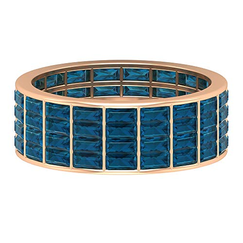 Eternity Wedding Ring, Wide Band Ring, 4.56 CT Baguette Cut London Blue Topaz Ring, November Birthstone Ring, Anniversary Ring, Statement Ring, 14K Rose Gold, Size:UK R