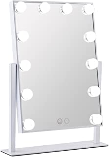 Orient Light LED Vanity Mirror Hollywood Style Makeup Tabletops, Large Cosmetic Mirror with 12 x 3W Super Bright Dimmable Touch Control Lighted Bulbs, White