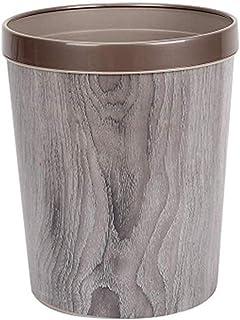 ZXJshyp Dustbin Log Trash Can Household Plastic Trash Can Imitation Wood Grain Round Eco Waste Trash Can (Color : Silver ash)