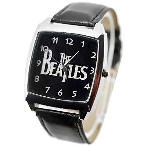 Taport® Armbanduhr Beatles Quarz, quadratische Uhr, schwarzer Uhrenarmband aus Echtleder, mit Ersatzbatterie und Geschenktasche
