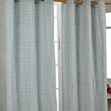 Homescapes handgewobener Vorhang Ösenvorhang Dekoschal Gingham im 2er Set, 137 x 182 cm, 100prozent Reine Baumwolle, blaugrün weiß kariert