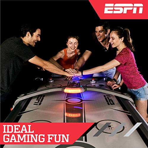 ESPN Air Hockey Game Table: 84 inch Indoor Arcade Gaming Set with Electronic Overhead Score System, Sound Effects, Cup Holders, Pucks and Paddles