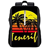 Tenerife Vintage Sun Mochila Daypack Bookbag Laptop School Bag con puerto de carga USB