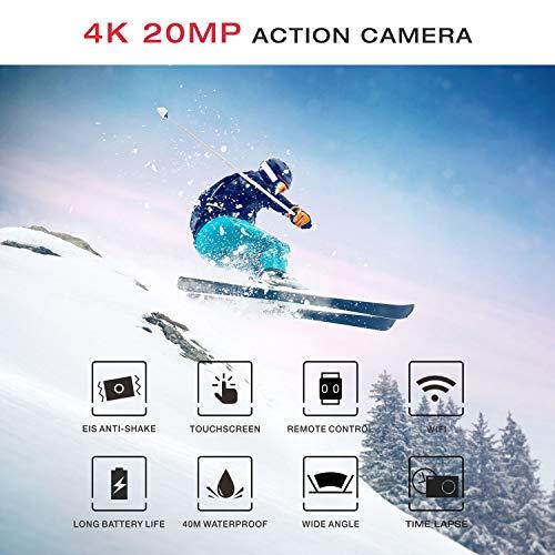 Campark X20 Action Cam 4K Ultra HD 20MP Touchscreen WiFi Fernbedienung EIS Anti-Shaking Unterwasserkamera wasserdichte 30M mit 170 ° Weitwinkel Verstellbar und Zubehör-Kits - 5