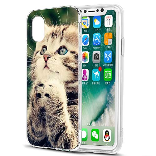 Pnakqil Cover Samsung Galaxy S5 Mini Case,Silicone TPU Morbido Anti-Graffio Antiurto Custodia Trasparente Protettiva per Custodia Cover Samsung Galaxy S5 Mini,Gatto Prega