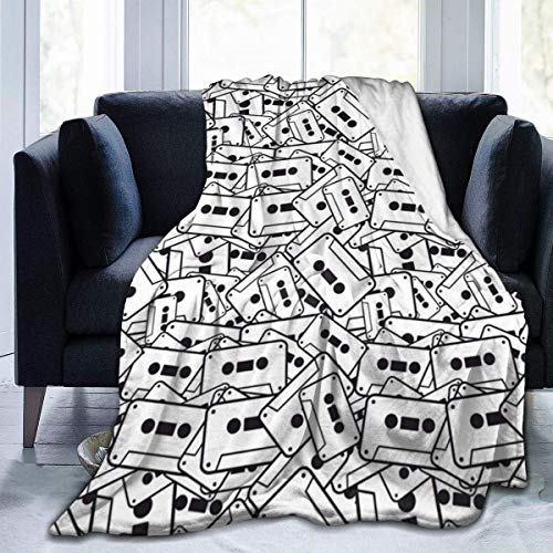 Ruin Plush Throw Fuzzy Super Soft Flannel Blankets Black and White Tape for Couch, Bed, Sofa Warm and Cozy for All Seasons