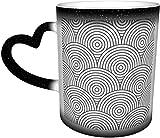 Tazas de café Fondo retro con patrón de cota de malla Sensible al calor que cambia de color Taza en el cielo Taza de cerámica Regalos personalizados para amantes de la familia Amig
