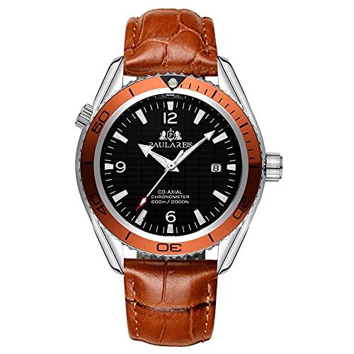 PAULAREIS - Reloj de pulsera mecánico automático con correa de cuero naranja para hombre
