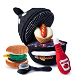 Plush BBQ Grill Toy Set   Includes 4 Talking Soft Plush Food & Utensils   A Plush Grill Shaped Carrier   Great Gift for Baby and Toddler Boys or Girls