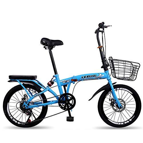 QIANG Bicicleta De Ciudad Plegable Bicicleta De Aleación De Aluminio Liviana De 20 Pulgadas De Doble Disco De 7 Velocidades Marco De Acero Al Carbono Unisex Guardabarros Delantero + Trasero,Blue