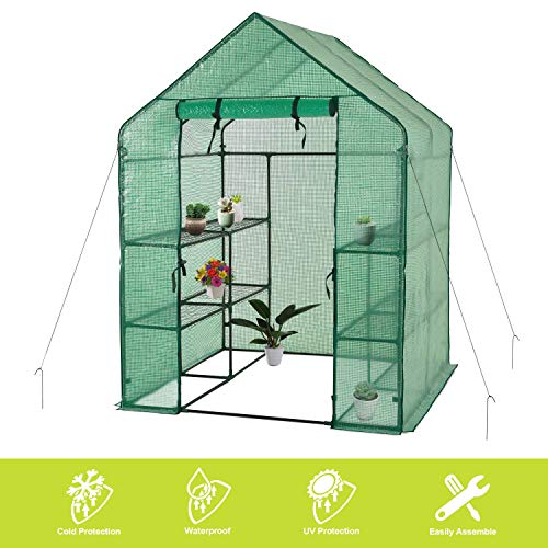"Deluxe Green House 56"" W x 56"" D x 77"" H,Walk In Outdoor Plant Gardening Greenhouse,3 Tiers 6 Shelves (56"" W x 56"" D x 77"" H)"