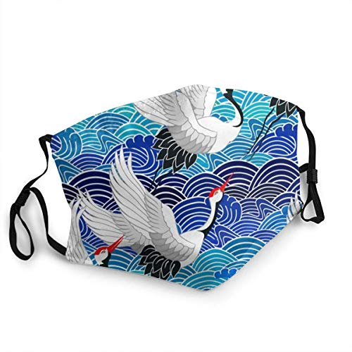 Mundschutz Vogelkranich, Reiher, Japan Gesichtsschutz wiederverwendbar, waschbares Tuch, Gesichtsschutz, Mundschutz Gesichtsschutz