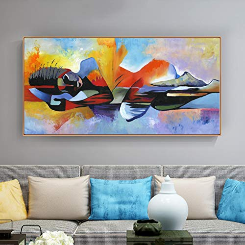Nativeemie Buddha Abstract Painting Buddha Canvas Religious Poster Print Wall Art Pictures Living Room Home Decor 70x140cm/27.6'x55.1' Frameless