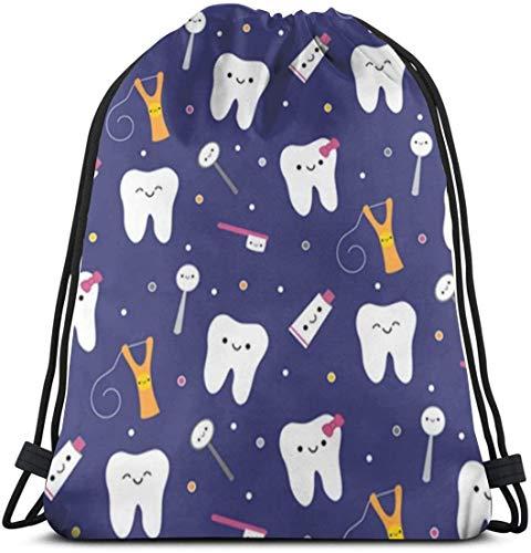 Bolsa de cordón informal de tela dental azul, bolsa de poliéster duradero, bolsa de cincha al aire libre, impermeable y ligera, bolsa de almacenamiento reutilizable para calcetines de botella de bola