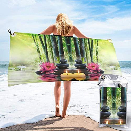 FLDONG Toalla de baño de microfibra de bambú verde con impresión de loto, ultra suave, compacta, apta para camping, gimnasio, playa, hogar, 81,5 x 153 cm