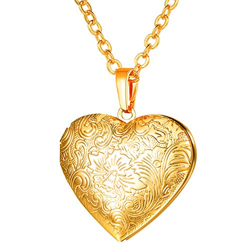 U7 Girls Flower Locket Necklace That Hold Picture/Urn Ashes Memorial Jewelry 18K Gold Link Chain Heart Shape Photo Lockets Pendant