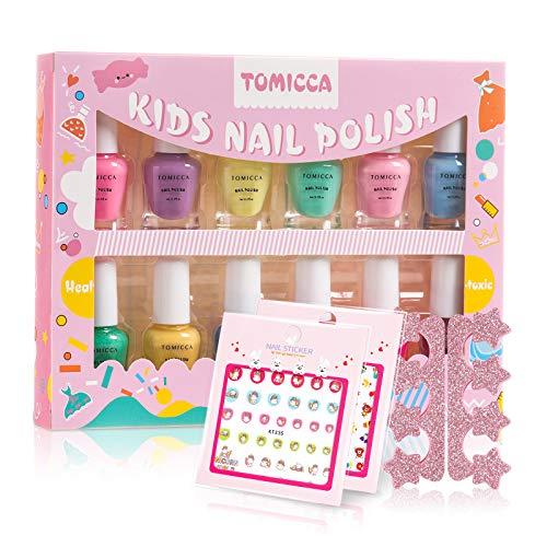 TOMICCA Kinder Nagellack Set 12 Farben ungiftig geruchlos Peel Off Aqua Nagellack schnell trocken Nagellack Geschenke Kit für Mädchen
