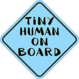 StickerTalk Blue Tiny Human on Board Magnet, 5 inches by 5 inches