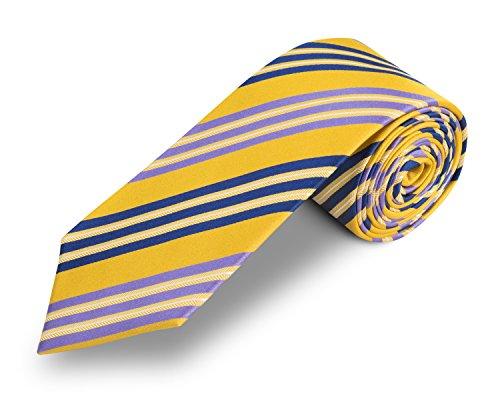 SeidenKrawatte gestreift gelb - 100% Seide -handgefertigte Krawatte gelb schmal - Pietro Baldini