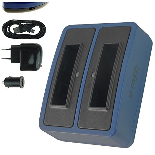 Dual-Ladegerät (Netz+Kfz+USB) für Rollei RL410B / Rollei Action Cam 230, 240, 400, 410 / Maginon AC-800W