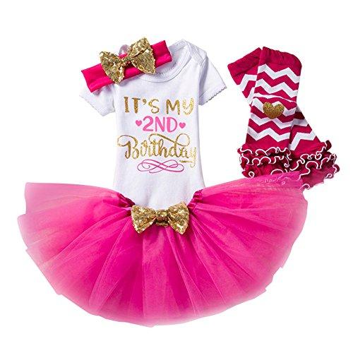 Bebé Recién Nacida Es mi Primer/Segundo Fiesta de CumpleAño 4 Piezas Conjunto de mameluco + Falda + Diadema + Polainas Rose Rojo/24meses