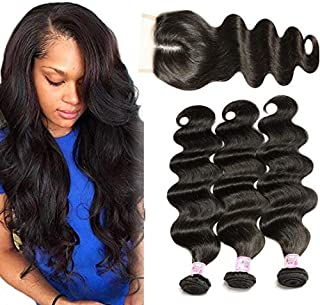 Beauty Forever Hair 3 Bundles Brazilian Virgin Hair Body Wave with 4x4 Middle Part Lace Closure, 100% Unprocessed Human Hair Weave Extensions Nature Color (10 12 14+10)