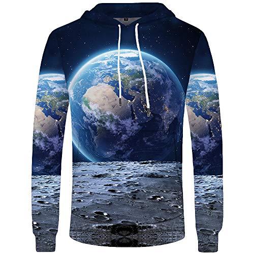 Blue and White Reflections Guardando la Terra Dalla Luna Maglione Con Cappuccio Maglione 3D Stampa Digitale Giacca Sportiva Casual-Color_5XL