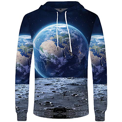 Blue and White Reflections Guardando la Terra Dalla Luna Maglione Con Cappuccio Maglione 3D Stampa Digitale Giacca Sportiva Casual-Color_5XL
