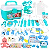 CUKU Toy Doctor Kits 48Pcs Pretend Play Stethoscope Medical Kit,with Pretend Play Set of Teeth and Dental Accessories for Educational Toys for Age 3 4 5 6 7 8 Year Old Girls Boys Toddler Gift