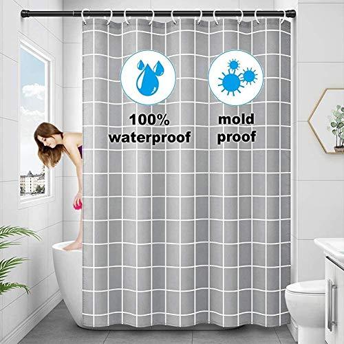 Wasserdicht Duschvorhang 180x200,Antischimmel Polyester Duschvorhänge Grau Textil Waschbar,Schwer Saum Shower Curtains mit 12 Plastik Hochwertiges Duschvorhangringe für Badewanne & Bathroom