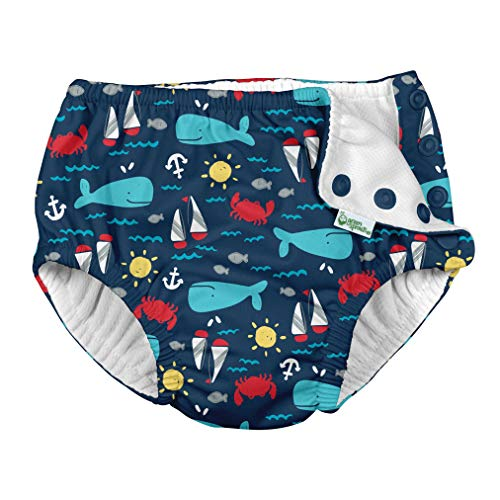 i play. by green sprouts baby boys Reusable and Toddler Swim Diaper, Navy Nautical Whale, 3T US