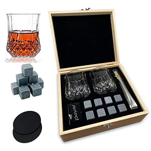Whiskey Stones Glass Gift Set - 2 Classic Whiskey Glasses, 8 Premium...