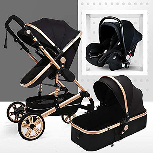 TXTC 3 In 1 Kinderwagen Wagen Klappbar Luxus Buggy Anti-Shock Federn High View Pram Baby-Spaziergänger Mit Babykorb (Color : Gold Tube-Black)