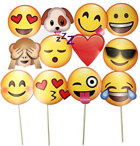 JZK 12 x Emoji Foto Verkleidung Papier Partei Requisiten Photo Booth auf Stick für Kinder Erwachsene Party Favour Zubehör für Hochzeit Hen Party Geburtstag Weihnachten Halloween