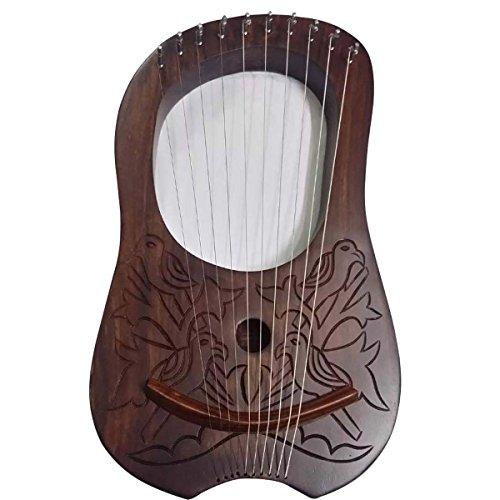Lira in legno di palissandro inciso a 10 corde in...