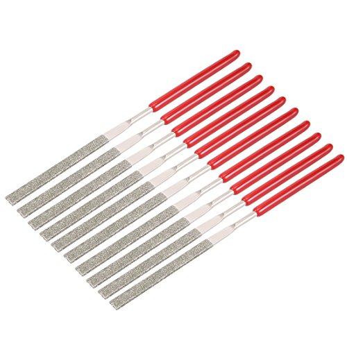 uxcell 10Pcs 2mm x 100mm Flat Diamond Needle File 150 Grit