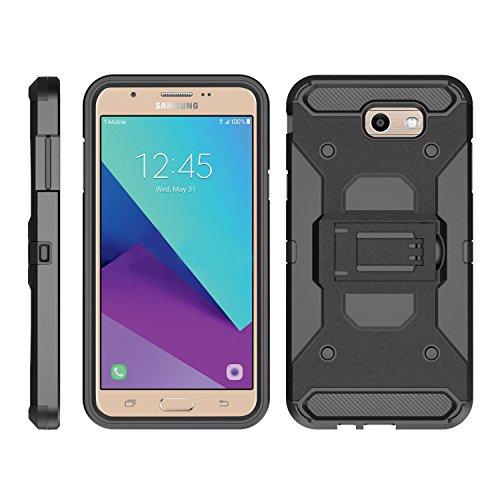 TurtleArmor   Compatible with Samsung Galaxy J7 2017 Case   J7 Prime   J7 Sky Pro [Armor Pro] Armor Full Body Rugged Hybrid Kickstand Holster Belt Clip Case Sea Ocean - Black