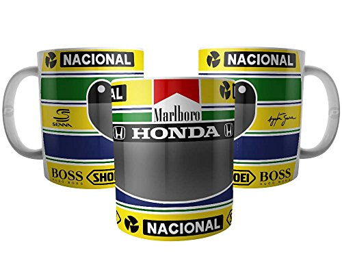 Caneca Ayrton Senna Capacete Amarelo Mclaren Fórmula 1