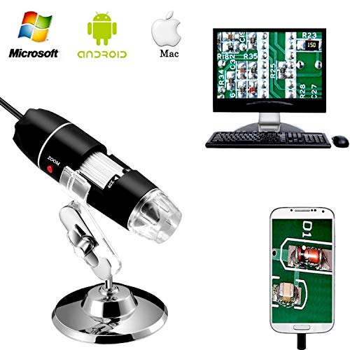 Jiusion 40-1000x Vergroting Endoscoop, 8 LED USB 2.0 Digitale Microscoop, Mini-camera met OTG-adapter en Metalen Standfunctie, Compatibel met Mac Windows 7 8 10 Android Linux