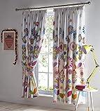 Kids' Club Bedding Kidz Club Candy Bloom - Cortinas Plisadas (156 x 154 cm), diseño Floral, Multicolor