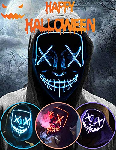 Halloween Led Light Up Mask, Purge Mask, Scary Mask Cosplay Led Costume Mask for Kids, Children & Adults with EL Wire Light up for Halloween, Festival Party, Masquerade, Carnival