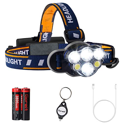 LED Headlamp rechargeable, Goreit Brightest High 6000 Lumen LED Headlight, USB Rechargeable Waterproof Flashlight with COB Work Light, Head Torch for Camping, Hiking, Outdoors