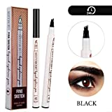 Arishine Eyebrow Tattoo Pen Microblading Eyebrow Pencil Tattoo Brow Ink Pen with a Micro-Fork Tip Applicator Creates Natural Looking Brows Effortlessly and Stays on All Day (Black)