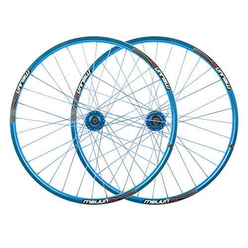 ZCXBHD 26 Inch Mountain Bike Disc Brake Wheelset Bicycle Wheel Aluminum Alloy Quick Release 7/8/9/10/11/12 Speed Flywheel 32 Hole (Color : Blue)