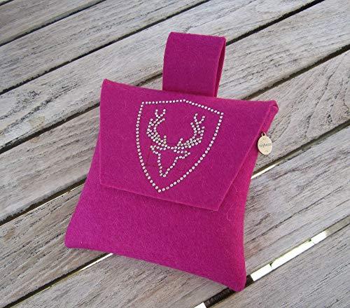 zigbaxx Wiesn-Bag PLATZHIRSCH/Trachtentasche, Gürteltasche, Bauchtasche, Dirndl-Tasche aus Woll-Filz mit Hirsch aus Strass & Studs, grau/anthrazit-schwarz/pink/beige/braun